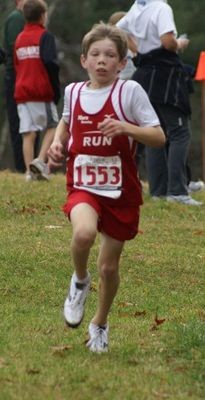 Timothy Davis (Team RUN) had a strong race in winning the Bantam Boys race on The Farm (courtesy Mark Coddaire)