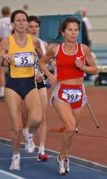 Marge Bellisle follows Kathryn Martin in the mile.