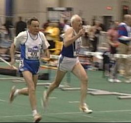 John Means and Jim Manno in the M85 60 Meter Dash