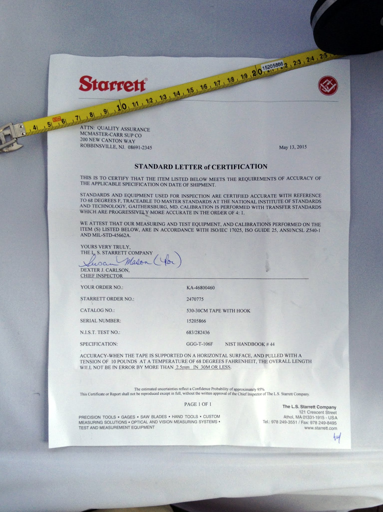 Scpf using a steel tape topic last year i purchased a starrett certified nist traceable steel tape the tape included a letter certifying the accuracy 1betcityfo Choice Image