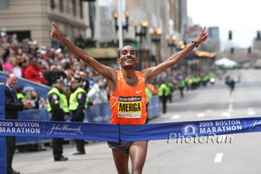 Ethiopia's Deriba Merga won the men's 2009 Boston Marathon.