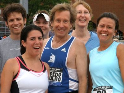 Bill Rogers celebrates National Running Day. Photo Courtesy B.A.A.