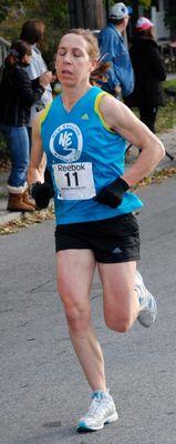 Caroline Bjune, women's winner at BayState Marathon. (Photo: Tom Derderian)