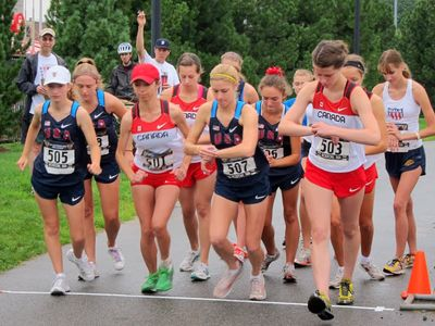 Start of the USA vs Canada Junior Womens 5K Race Walk at East Boston. (Photo by Emmett S.)
