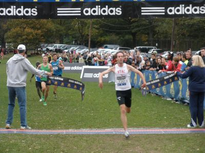 David Nightingale (NYAC) finishes the Mens' 8K with a time of 23:46 (SV photo)