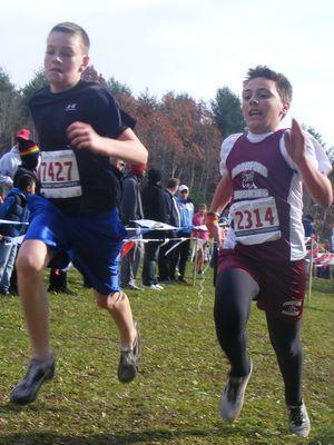 Jacob Meier and Ethan Randall head to the finish in the Midget Boys 3K (Vera Vaitones photo)
