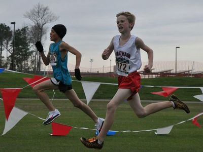 Daniel O'Donoghue runs to an All-American 24th palce in the Midget Boys race (photo: Emer)