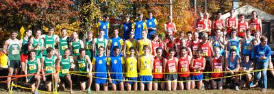 The colors of fall in New England are club uniforms at cross country events (Photo: Tom Derderian)