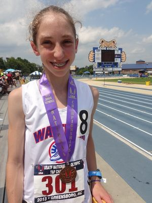 Clare Martin medalled in the 1500m at the 2013 USATF National Junior Olympic Track & Field Championships. (Photo: Emily Martin)