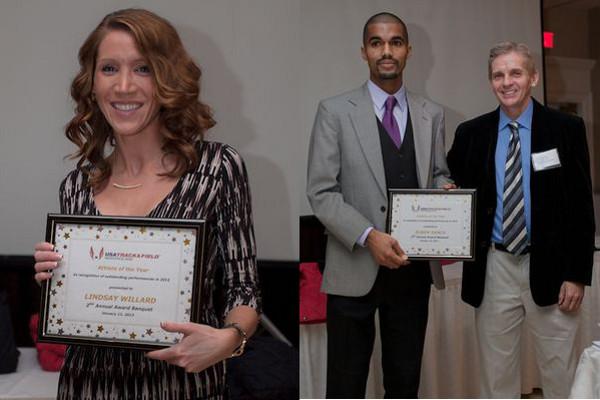 Ruben Sanca and Lindsay Willard accept their Athlete of the Year awards. (Photos by Joe Navas)