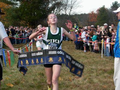 Michaela Jones (Pike MS, Andover) wins the eighth grade race.(USATF-NE photo)