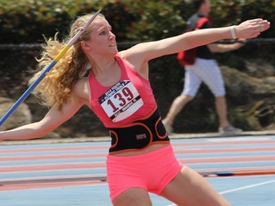 Emma Fitzgerald won the javelin at the World Youth Olympics in Miramar, Florida. (Photo courtesy of National Scholastic Athletics Foundation)