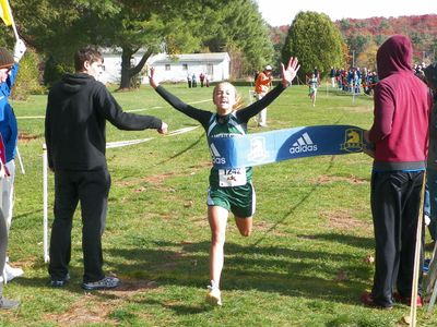 Mia Cromwell (Manchester-Essex) wins the 7th grade race. (USATF-NE photo