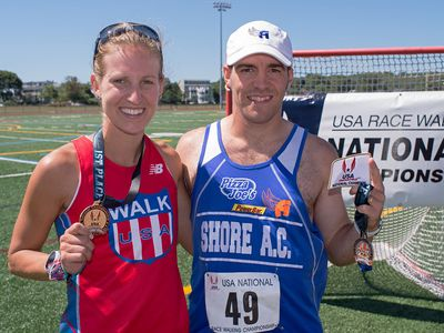 Maria Michta-Coffey and Michael Mannozzi won the National One Hour Race Walk in Gloucester (Photo: J.S.McElvery)