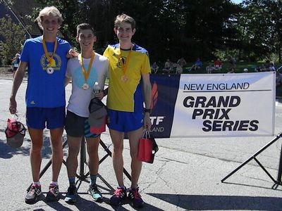 Top 3 male finishers at the 2015 Acton 20K (USATF-NE photo by Jean Cann)