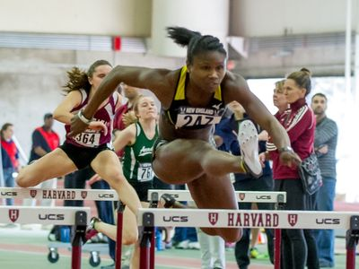 Hurdles competition at the USATF-NE Indoor Championship. (ScottMasonPhoto.com)