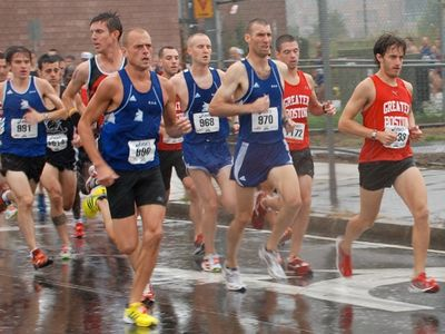 A rainy day for the 69th Annual Ollie 5 Mile Road Race in South Boston