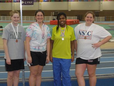 The girls' medalists at the Mass. Scholastic Weight Throw Invitational. (Photo: Masha Kuo)