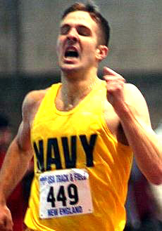 Aaron Lanzel (US Naval Academy) wins the mile in 4:03.29. Photo courtesy of G Bridgman.