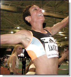Regina Jacobs set a new World record with a 3:59.98 in the 1500. Photo courtesy of Jim Rhoades.