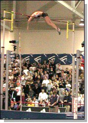 Stacy Dragila clears new American record of 15 feet, 5.5 inches. Photo courtesy of Jim Rhoades.