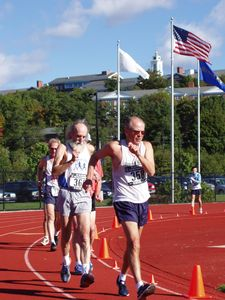 Leon Jasionowski and Bob Keating at the USA National One Hour Race Walk at Bentley College in Waltham