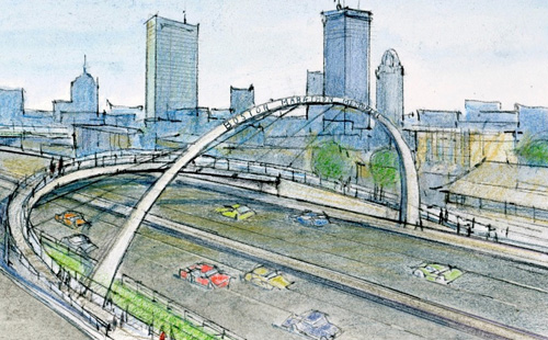 Sketch of proposed pedestrian bridge and Boston Marathon memorial