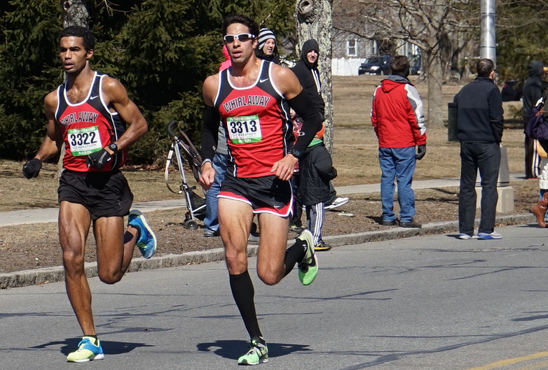 Ruben Sanca (left) racing with teammate Nick Karwoski. (Photo credit: Thomas Cole)