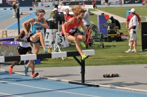 David Goodman competing at the 2013 USATF Outdoor T&F Championship in the 3,000m Steeplechase - Photo Credit: NEDistance.org