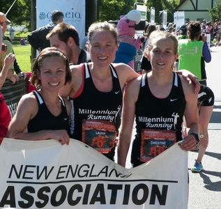 Sandahl (left) picture with her Millennium Running teammates at the Ribfest 5 Miler after she and her team took the individual & team titles in the USATF-NE championship race.