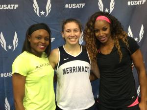 Muscaro was up against professional athletes, including Jernail Hayes (left) and Natasha Hastings (right) at the US Indoor Championships